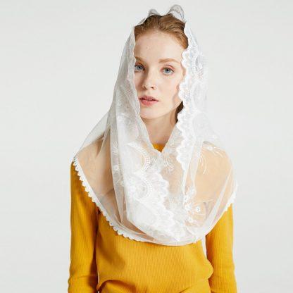 Leo anvi White black church veil traditional catholic orthodox veils religious head coverings mantilla lace latin mass scarf 1