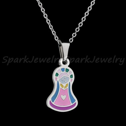 Religious Stainless Steel Virgin Mary Necklace Catholic Lady Of Guadalupe Necklace Cartoon Colorful Figure Chain Necklace  2