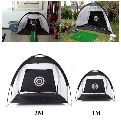 Golf Hitting Cage Practice Net Trainer Foldable 210D Encryption Oxford Cloth+Polyester Durable Sturdy Construction Black 1
