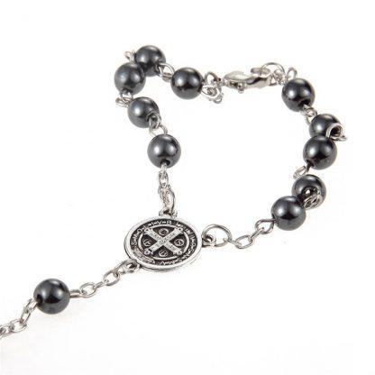 New Trendy Plastic Bead catholic rosary cross Pendant Bracelet For Women Jewelry Bangles Religious Gifts 2