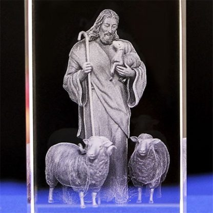 Jesus 3D Engraved Crystal Gifts Crystal Carving Table Crafts Cross Ornaments Jesus Shepherd Catholic Souvenirs of Jesus Series 3