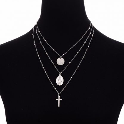 Ingesight Multilayer Cross Virgin Mary Pendant Beads Chain Christian Necklace Goddess Catholic Choker Necklace Collier for Women 4