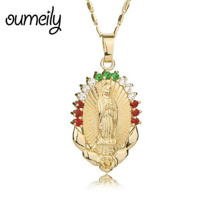 OUMEILY Oval Angle Virgin Mary Maria Statement Necklace Catholic Religious Jewelry Gold Color Men Women Engagement Party Jewelry 2