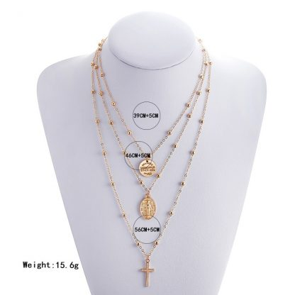 X86 Multilayer Cross Virgin Mary Pendant Beads Chain Christian Neckalce Goddess Catholic Choker Necklace Collier For Women 5
