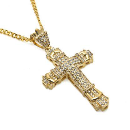 Gold Cross Necklace Pendant Diamond-encrusted Retro Cross Pendant Crucifix Cross Jesus Piece Necklace&Pendants Men/Woman Jewelry 2