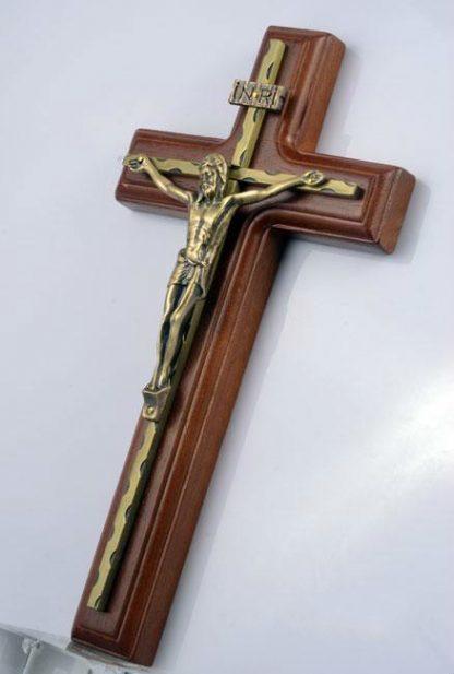 Wall Hanging Wooden Alloy Cross Crucifix Jesus Christ Catholic Holy Virgin Mary Jesu Figure Rood Exorcises Evil Spirits 25.5CM 1