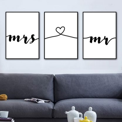 Wall Art Canvas Painting Nordic Posters Prints Mr Mrs Romantic Love Quotes Pictures For Living Room Home Wedding Decoration 1