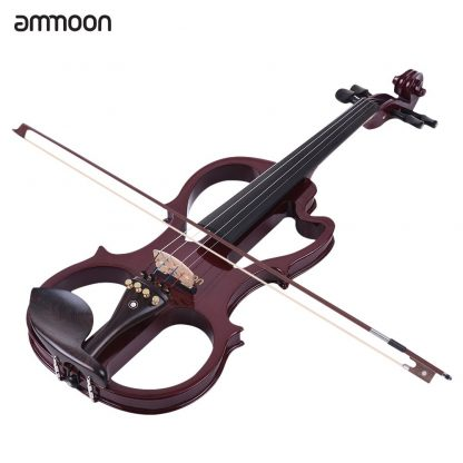 Hot sale ammoon VE-201 Full Size 4/4 Solid Wood Silent Electric Violin Fiddle Maple Body Ebony Fingerboard Pegs Chin Rest 2