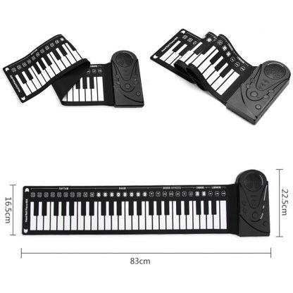 Unisex Flexible Keyboard Digital Educational Piano Kid's 75kg 49-Keys white 0 Roll-Up Black Music 2