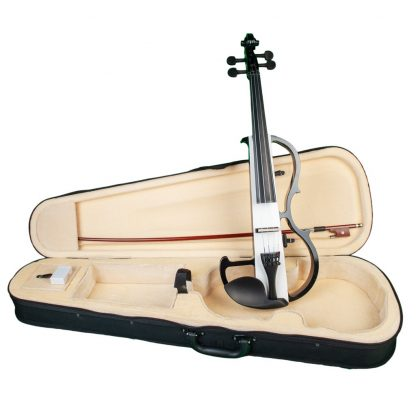 Full Size 4/4 Silent Electric Violin Solid Wood Maple With Bow Hard Case Headphone Cable Rosin New Set Black&White 5