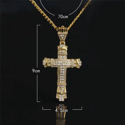 Gold Cross Necklace Pendant Diamond-encrusted Retro Cross Pendant Crucifix Cross Jesus Piece Necklace&Pendants Men/Woman Jewelry 1