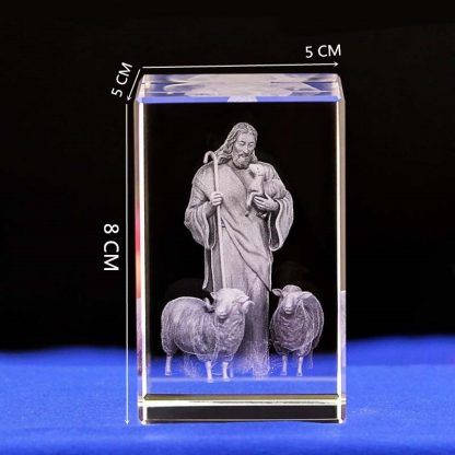 Jesus 3D Engraved Crystal Gifts Crystal Carving Table Crafts Cross Ornaments Jesus Shepherd Catholic Souvenirs of Jesus Series 1