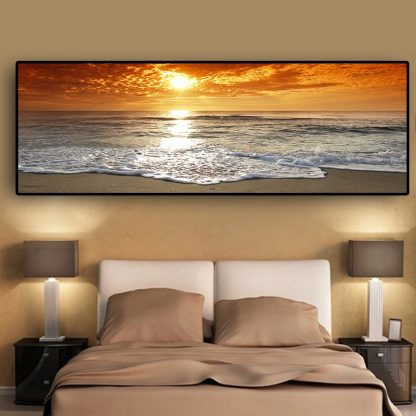 Sunsets Natural Sea Beach Landscape Posters and Prints Canvas Painting Panorama Scandinavian Wall Art Picture for Living  Room