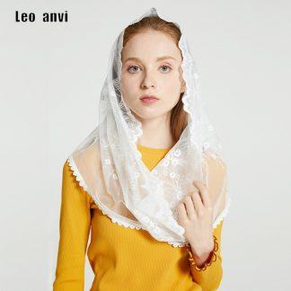 Leo anvi White black church veil traditional catholic orthodox veils religious head coverings mantilla lace latin mass scarf