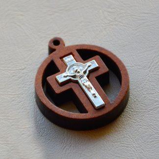 Catholic Wooden Cross Crucifix Rood Round Cross Holy Lamb of God Church Chapel Jesus Pendant Christianity Christ Gift God Jesu