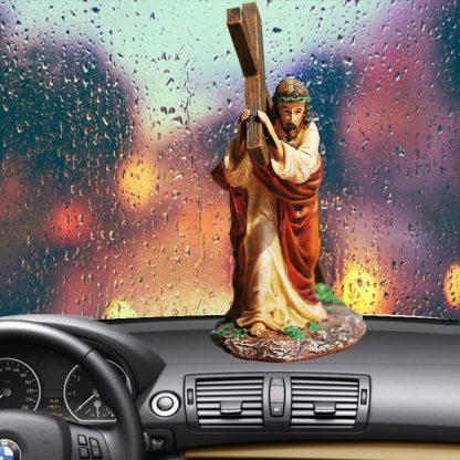 Resin Cross Crucifix Jesus Statue Figurine Christian Automobiles Decoration Furnishing Accessories Gift 3