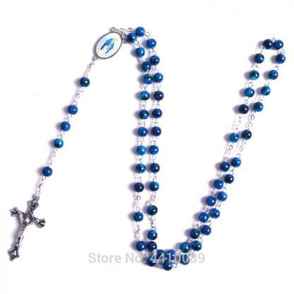 New Fashion Small Sized Round Blue Glass Beads Virgin Mary Catholic Rosary Necklace 3