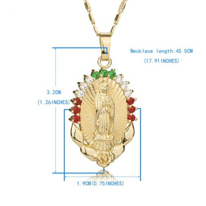OUMEILY Oval Angle Virgin Mary Maria Statement Necklace Catholic Religious Jewelry Gold Color Men Women Engagement Party Jewelry 5