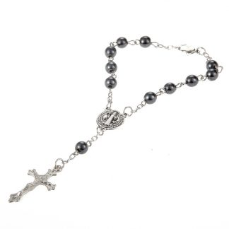 New Trendy Plastic Bead catholic rosary cross Pendant Bracelet For Women Jewelry Bangles Religious Gifts