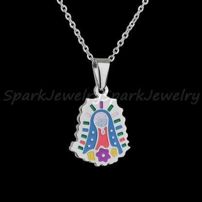 Religious Stainless Steel Virgin Mary Necklace Catholic Lady Of Guadalupe Necklace Cartoon Colorful Figure Chain Necklace  5