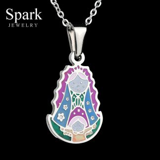 Religious Stainless Steel Virgin Mary Necklace Catholic Lady Of Guadalupe Necklace Cartoon Colorful Figure Chain Necklace