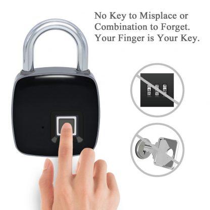 지문인식자물쇠ZWN Z1 USB Rechargeable Smart Keyless Fingerprint Lock IP65 Waterproof Anti-Theft Security Padlock Door Luggage Case Lock 1