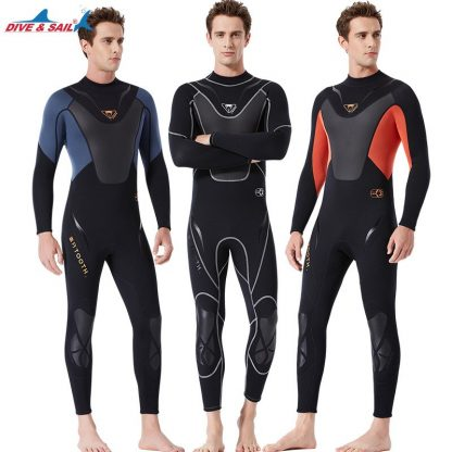 Full-body Men 3mm Neoprene Wetsuit Surfing Swimming Diving Suit Triathlon Wet Suit for Cold Water Scuba Snorkeling Spearfishing 1