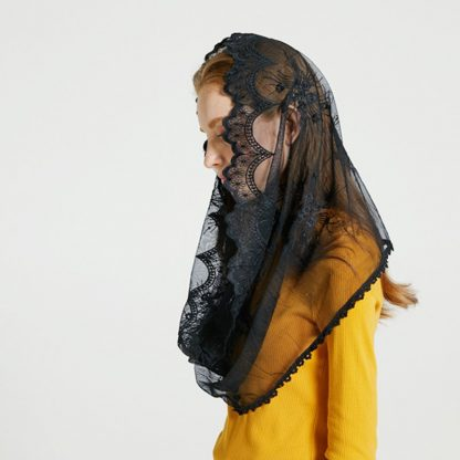 Leo anvi White black church veil traditional catholic orthodox veils religious head coverings mantilla lace latin mass scarf 4