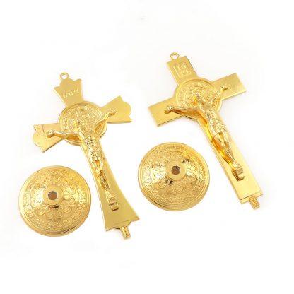 Gold Color Fashion Jesus Catholic Christian Holy Crucifix Ornaments Cross  Emmanuel Jesus Cross Statue with Base Figure Figurine 3