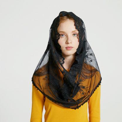 Leo anvi White black church veil traditional catholic orthodox veils religious head coverings mantilla lace latin mass scarf 3