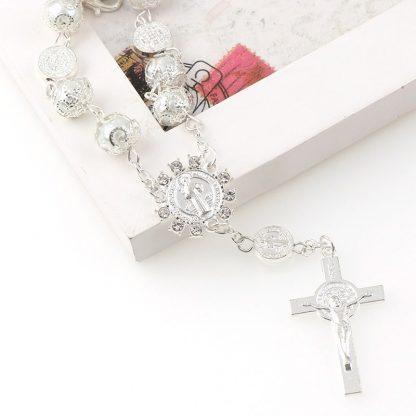 Catholic Religious Bead Cross Bracelets Rosary Centerpiece Sacred Heart of Mary Guadalupe Divine Mercy Jesus Saint Icons Jewelry 4