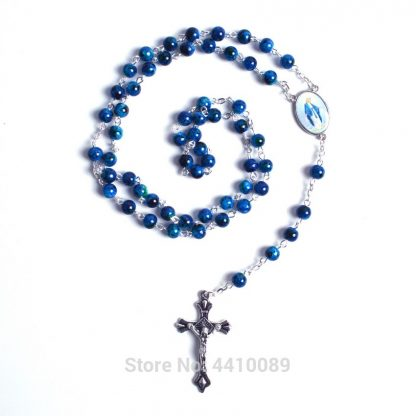 New Fashion Small Sized Round Blue Glass Beads Virgin Mary Catholic Rosary Necklace 2