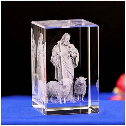 Jesus 3D Engraved Crystal Gifts Crystal Carving Table Crafts Cross Ornaments Jesus Shepherd Catholic Souvenirs of Jesus Series 2