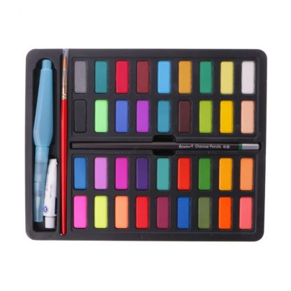 36 Colors Solid Watercolor Artist Paint Set Painting Box with Pens Paper And Bag Artist Art Supplies 2