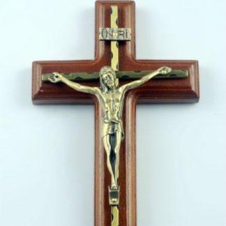 Wall Hanging Wooden Alloy Cross Crucifix Jesus Christ Catholic Holy Virgin Mary Jesu Figure Rood Exorcises Evil Spirits 25.5CM
