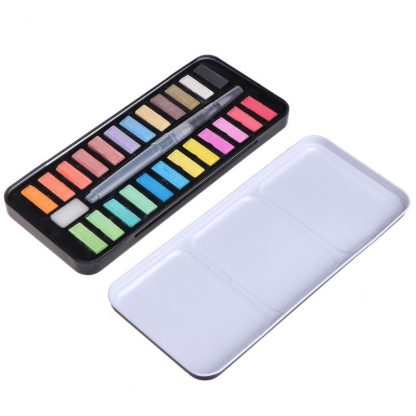 12/18/24 colors Solid Watercolor Paint Set Portable Drawing Brush acrylic Art Painting Supplies 5