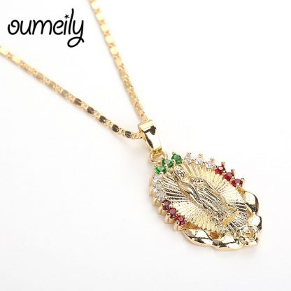 OUMEILY Oval Angle Virgin Mary Maria Statement Necklace Catholic Religious Jewelry Gold Color Men Women Engagement Party Jewelry 4