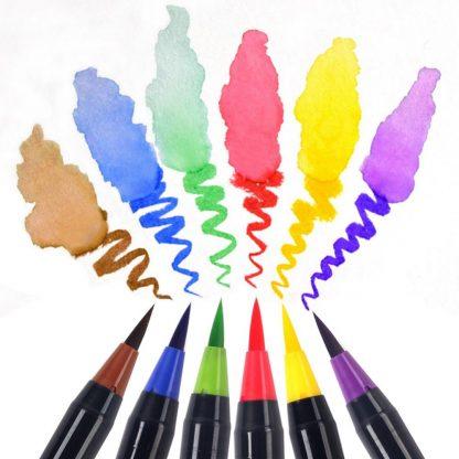 워터브러쉬20pcs Colors Brush Pen Sketch Drawing Watercolor Marker Set Calligraphy Pen For School Children Painting Manga Brush Stationery 2