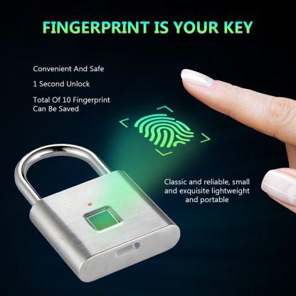 Golden security keyless smart USB rechargeable door fingerprint padlock quick unlock Zinc alloy metal self developing chip 4