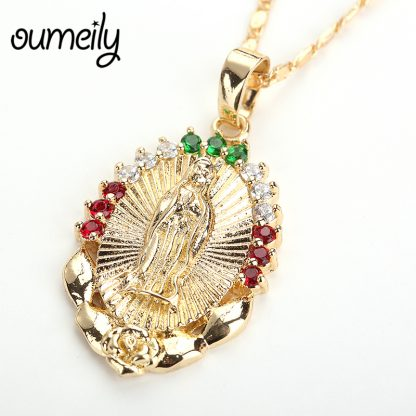 OUMEILY Oval Angle Virgin Mary Maria Statement Necklace Catholic Religious Jewelry Gold Color Men Women Engagement Party Jewelry 3