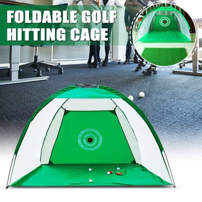 2x1.4m Foldable Golf Hitting Cage Practice Net Trainer+raining Aid Mat+Driver Iron Green Portable Durable Polyester+Oxford Cloth 1