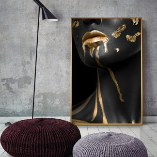 Beautiful Golden Black Lady Golden Canvas Painting Fashion Poster Print For Living Room HD Wall Art Ins Home Cuadros Decoracion