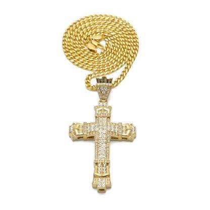 Gold Cross Necklace Pendant Diamond-encrusted Retro Cross Pendant Crucifix Cross Jesus Piece Necklace&Pendants Men/Woman Jewelry 5