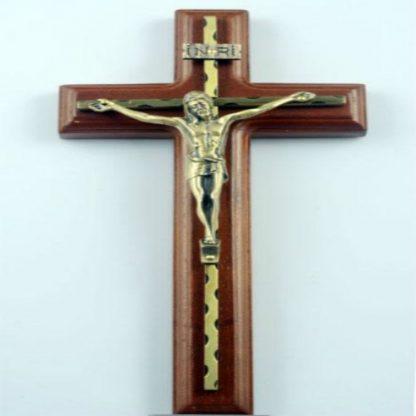 Wall Hanging Wooden Alloy Cross Crucifix Jesus Christ Catholic Holy Virgin Mary Jesu Figure Rood Exorcises Evil Spirits 25.5CM 3