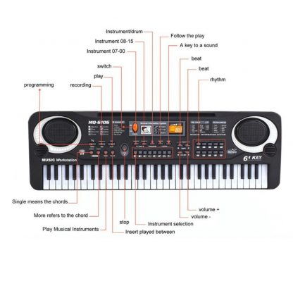 HOT Sale 61 Key Digital Electronic Piano Keyboard With Microphone Musical Instrument Gift For Children EU Plug  2