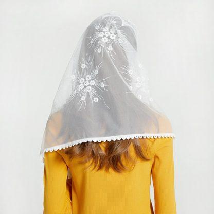 Leo anvi White black church veil traditional catholic orthodox veils religious head coverings mantilla lace latin mass scarf 5