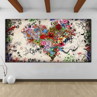 Hearts Flowers Painting Wall Art Canvas Painting For Living Room Modern Decorative Pictures Abstract Art Cuadros Decoration
