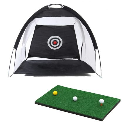 Golf Hitting Cage Practice Net Trainer Foldable 210D Encryption Oxford Cloth+Polyester Durable Sturdy Construction Black 3