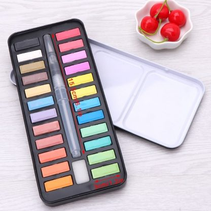 12/18/24 colors Solid Watercolor Paint Set Portable Drawing Brush acrylic Art Painting Supplies 3