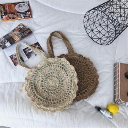 Bohemian Straw Bags for Women Circle Beach Handbags Summer Rattan Shoulder Bags Handmade Knitted Travel Big Totes Bag 2019 New 2